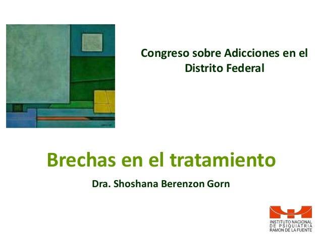 Congreso sobre Adicciones en el                    Distrito FederalBrechas en el tratamiento    Dra. Shoshana Berenzon Gorn