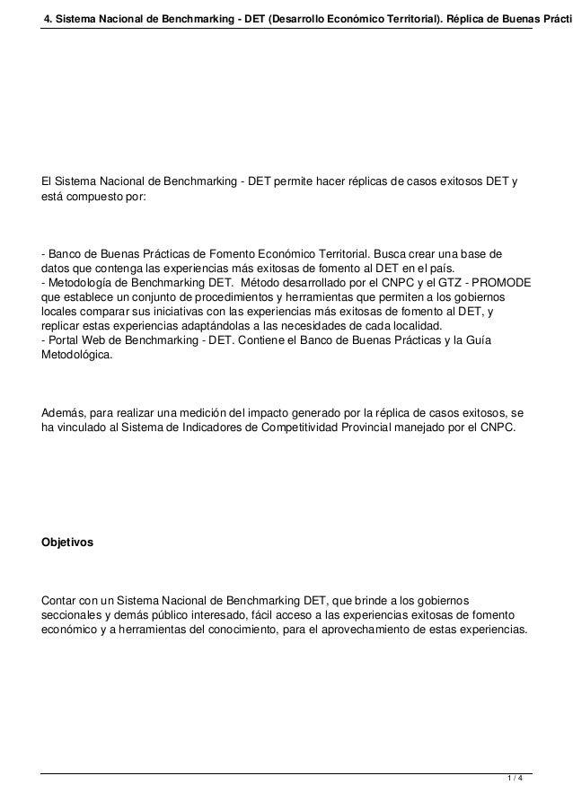 4. Sistema Nacional de Benchmarking - DET (Desarrollo Económico Territorial). Réplica de Buenas Prácticas.  El Sistema Nac...