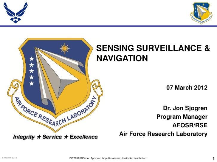 Sjogren - Sensing Surveillance & Navigation - Spring Review 2012