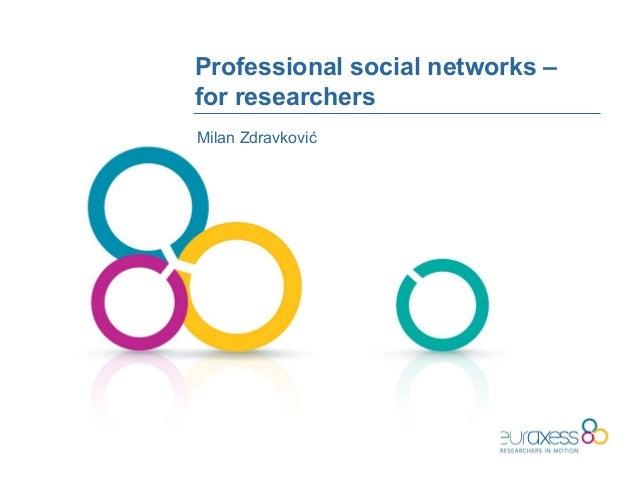 Professional social networks –for researchersMilan Zdravković