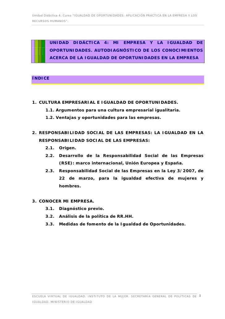 """Unidad Didáctica 4. Curso """"IGUALDAD DE OPORTUNIDADES: APLICACIÓN PRÁCTICA EN LA EMPRESA Y LOSRECURSOS HUMANOS"""".         UN..."""