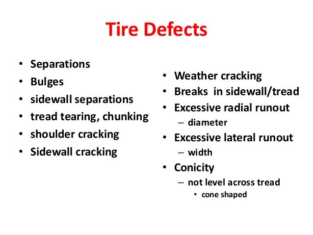 4 tyre pressure and defects