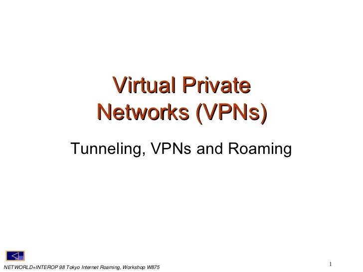 Virtual Private Networks (VPNs) <ul><li>Tunneling, VPNs and Roaming </li></ul>