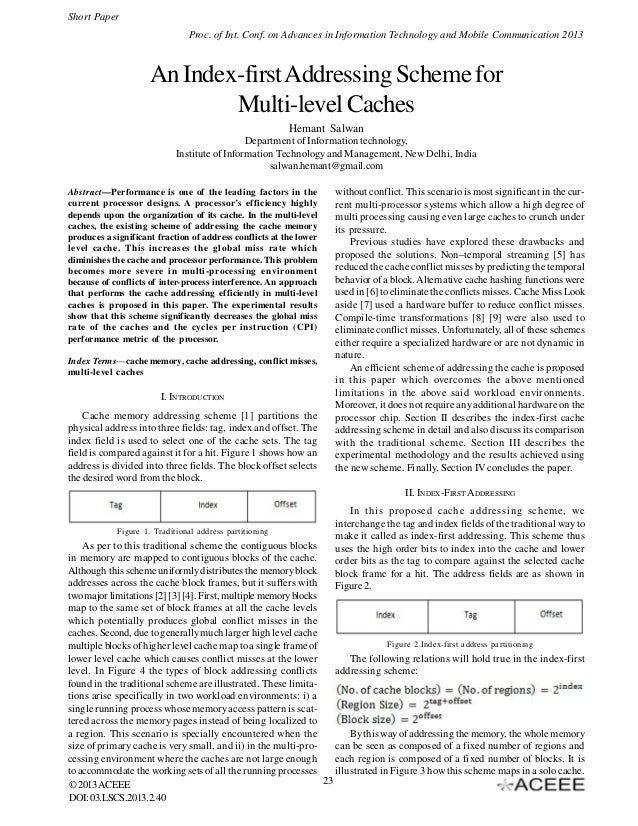 An Index-first Addressing Scheme for Multi-level Caches