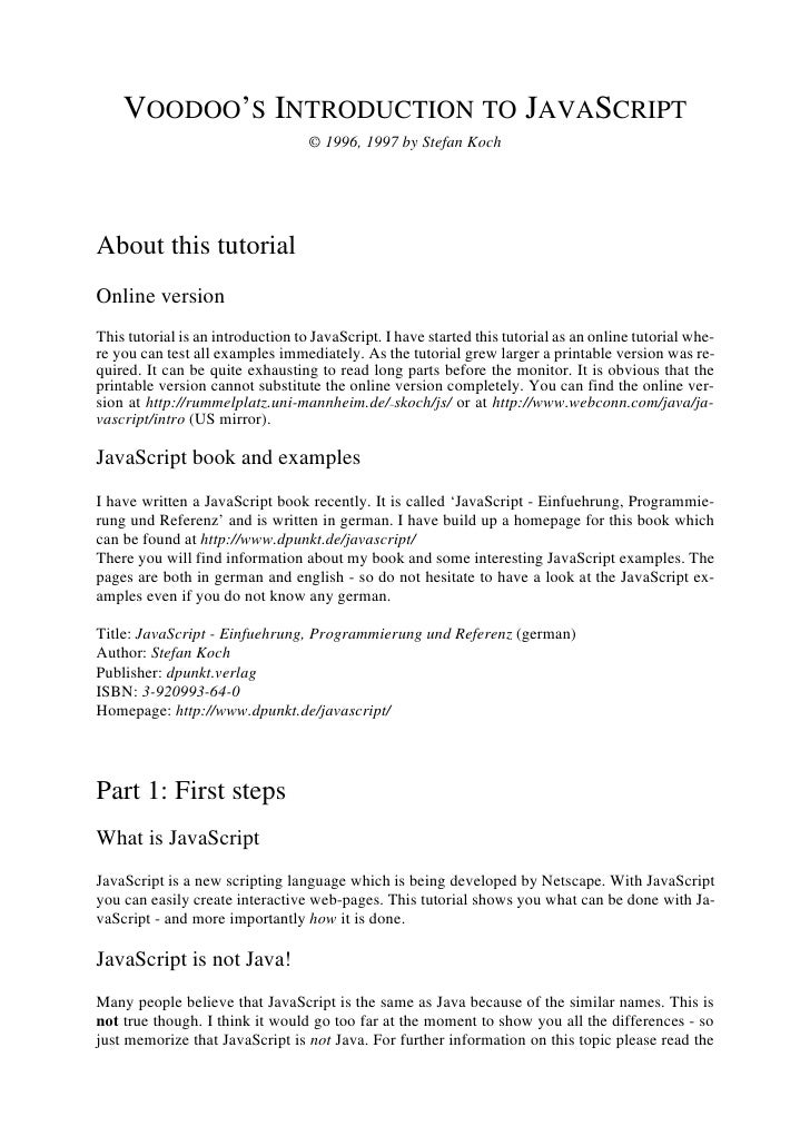 VOODOO'S INTRODUCTION TO JAVASCRIPT                                   © 1996, 1997 by Stefan KochAbout this tutorialOnline...