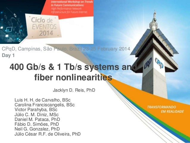 400 Gb/s & 1 Tb/s systems and fiber nonlinearities Jacklyn D. Reis, PhD Luis H. H. de Carvalho, BSc Carolina Franciscangel...