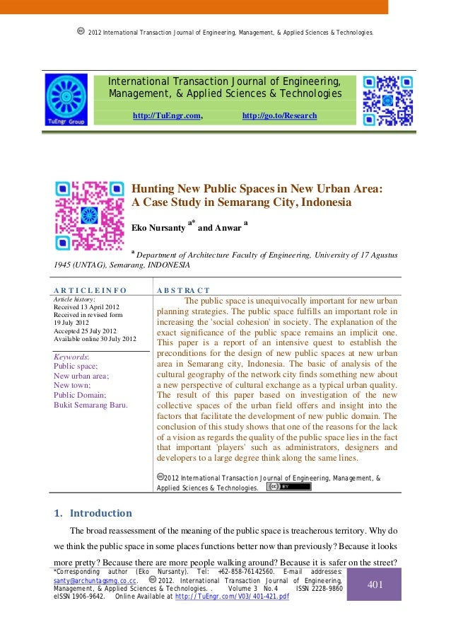 Hunting New Public Spaces in New Urban Area: A Case Study in Semarang City, Indonesia