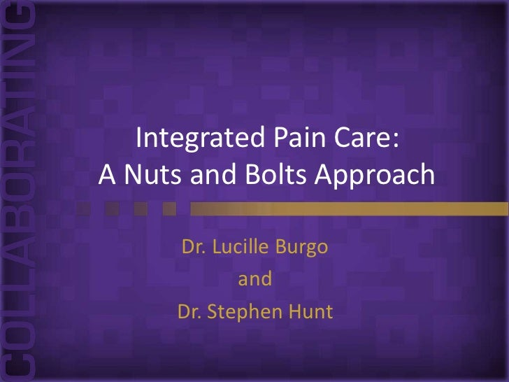 Integrated Pain Care:A Nuts and Bolts Approach     Dr. Lucille Burgo            and     Dr. Stephen Hunt