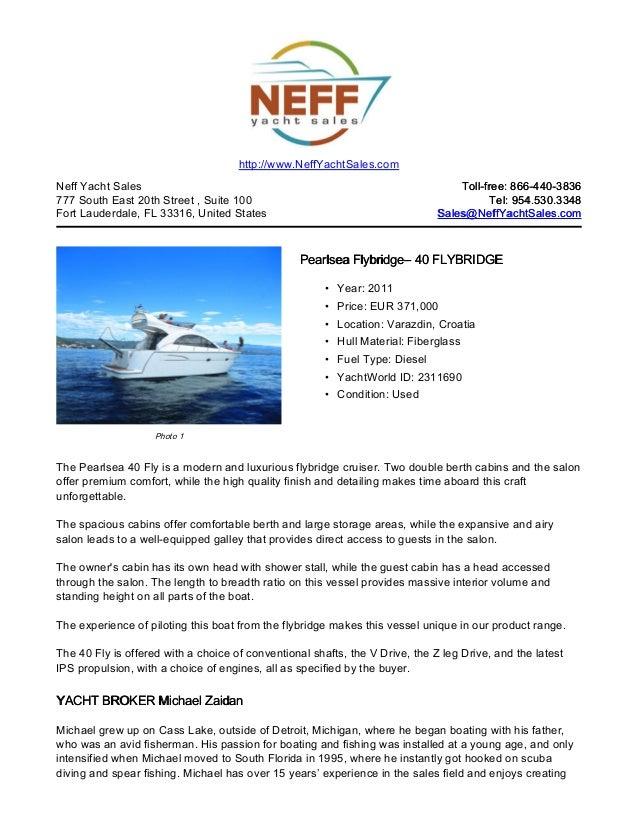 40' 2011 pearlsea flybridge for sale   neff yacht sales