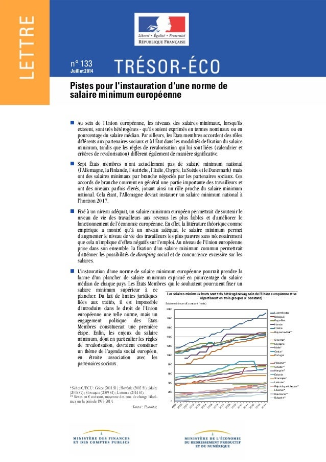 n° 133 Juillet 2014 Pistes pour l'instauration d'une norme de salaire minimum européenne  Au sein de l'Union européenne, ...