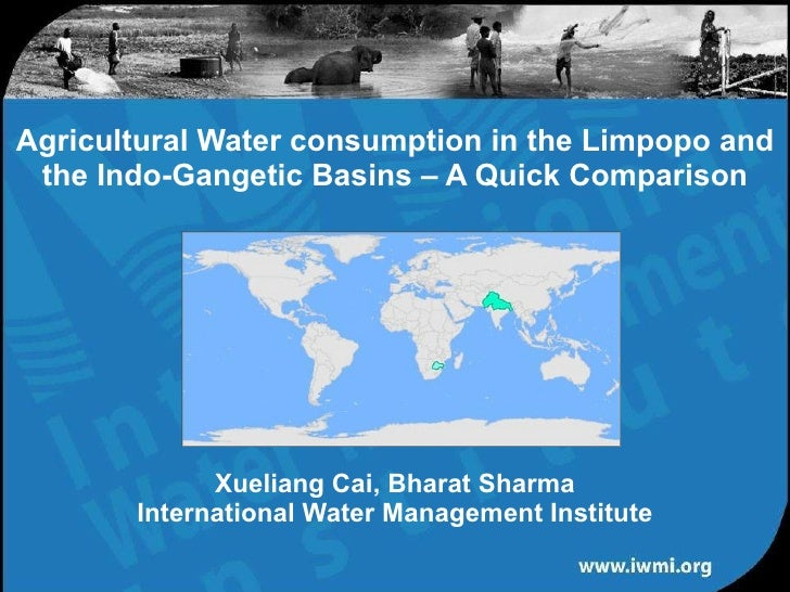 Agricultural Water Use in River basins : A Comparison between the Limpopo and the Indo-Gangetic – Cai X.L, Researcher – Water Resources & Remote sensing, International Water Management Institute, Southern African Office, South Africa