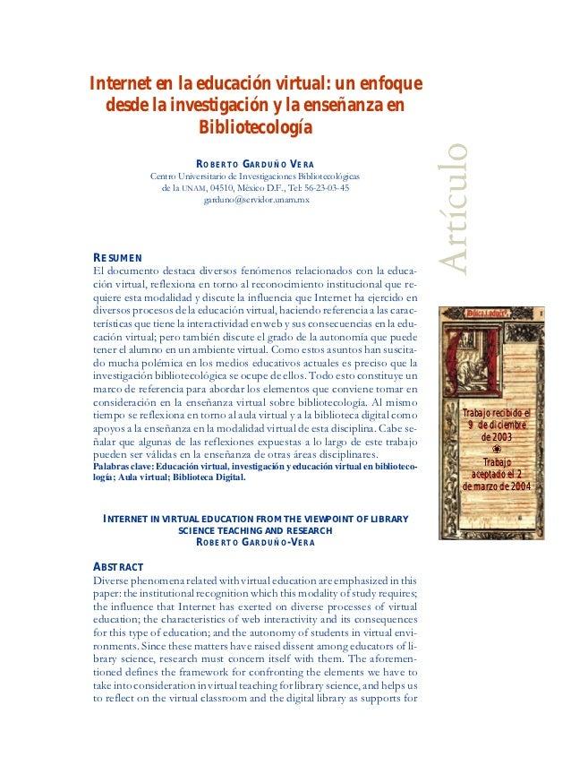 Internet en la educación virtual: un enfoque  desde la investigación y la enseñanza en               Bibliotecología      ...