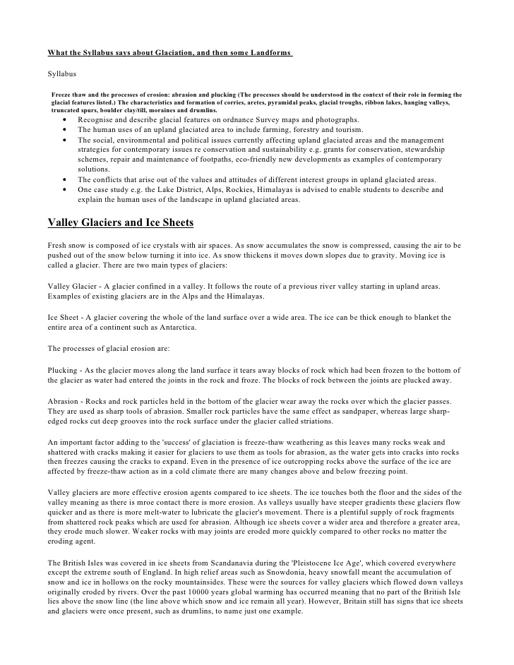 Revision Document - Glaciation