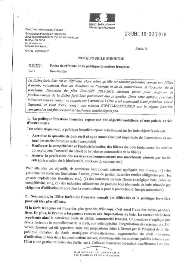Note pour le ministère de l'Economie, des Finances et de l'Industrie : Pistes de réforme de la politique forestière frança...