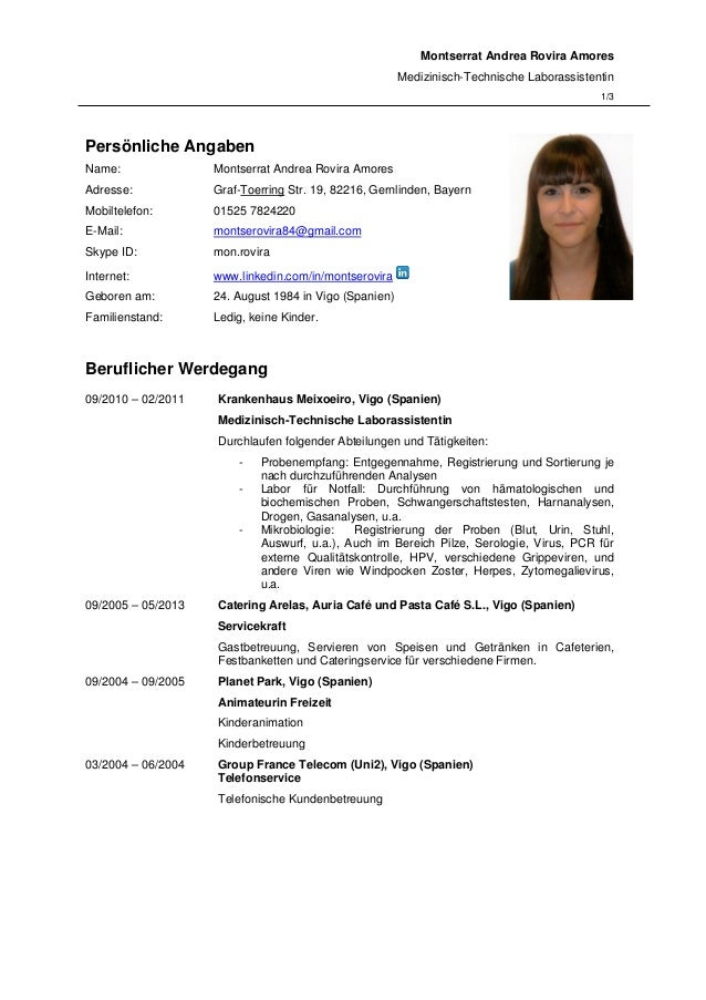 Montserrat Andrea Rovira Amores Medizinisch-Technische Laborassistentin 1/3 Persönliche Angaben Name: Montserrat Andrea Ro...