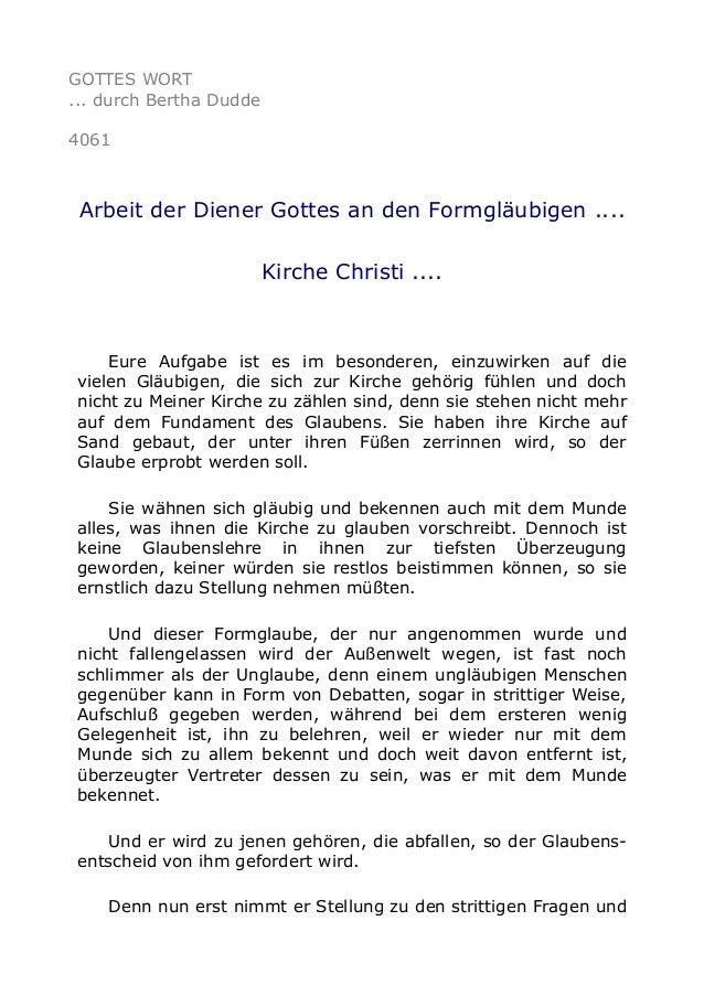 GOTTES WORT ... durch Bertha Dudde 4061 Arbeit der Diener Gottes an den Formgläubigen .... Kirche Christi .... Eure Aufgab...