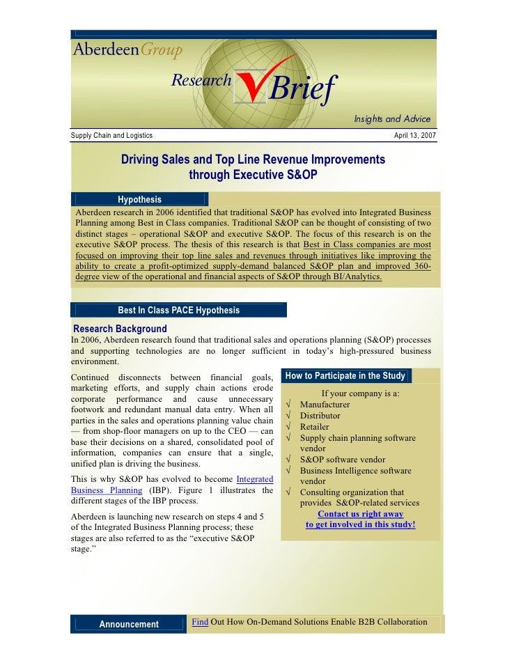 Supply Chain and Logistics                                                             April 13, 2007                  Dri...