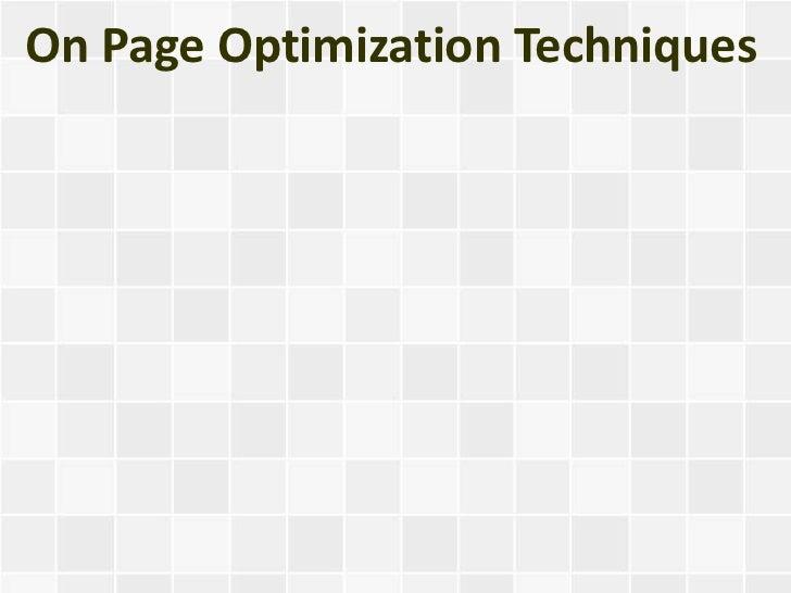 On Page Optimization Techniques
