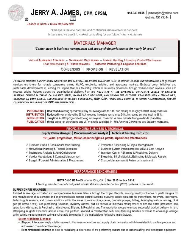 Supply Chain Management Resume Sample Supply Chain Executive - Resume format for supply chain management
