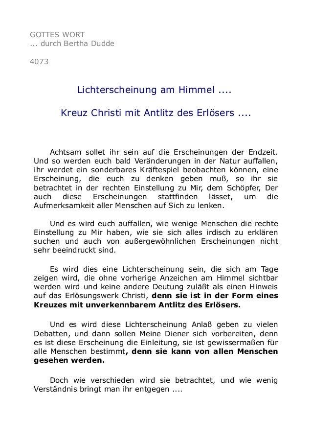 GOTTES WORT ... durch Bertha Dudde 4073 Lichterscheinung am Himmel .... Kreuz Christi mit Antlitz des Erlösers .... Achtsa...