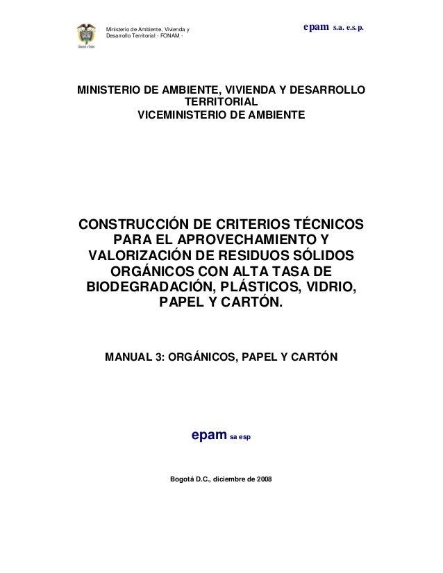 epam s.a. e.s.p.Ministerio de Ambiente, Vivienda yDesarrollo Territorial - FONAM -MINISTERIO DE AMBIENTE, VIVIENDA Y DESAR...