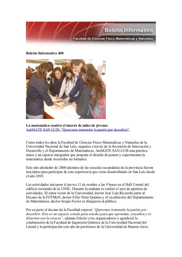 """Boletín Informativo 408La matemática cautivó el interés de miles de jóvenesAniMATE SAN LUIS: """"Queremos transmitir la pasió..."""