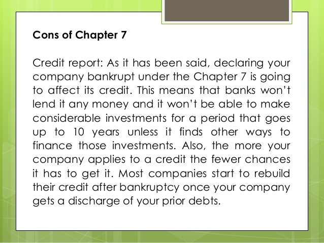 pros and cons of the bankruptcy process under chapter 7. Black Bedroom Furniture Sets. Home Design Ideas