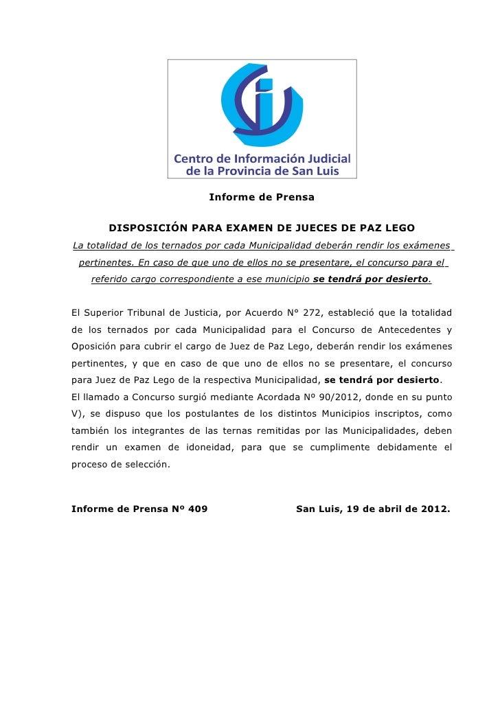 Informe de Prensa       DISPOSICIÓN PARA EXAMEN DE JUECES DE PAZ LEGOLa totalidad de los ternados por cada Municipalidad d...