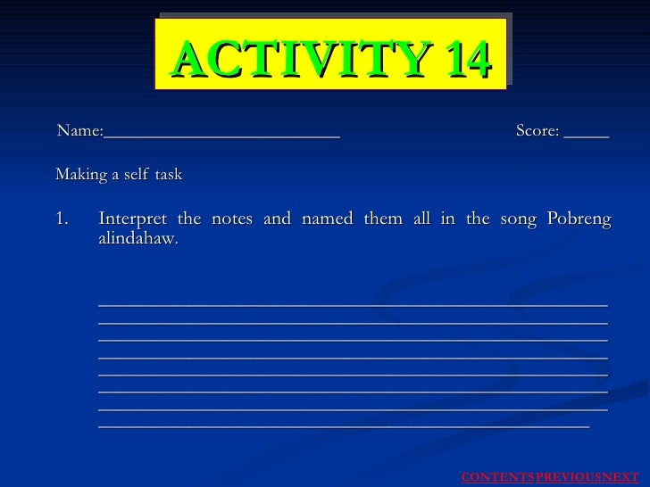 Name:__________________________  Score: _____ Making a self task 1. Interpret the notes and named them all in the song Pob...