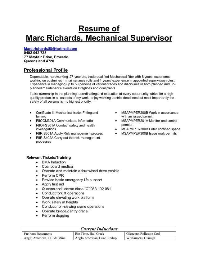 sample resume resume of marc richards mechanical supervisor