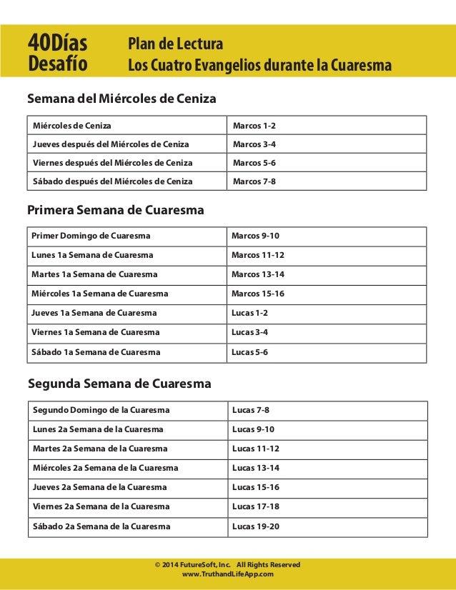 40Días Desafío  Plan de Lectura Los Cuatro Evangelios durante la Cuaresma  Semana del Miércoles de Ceniza Miércoles de Cen...