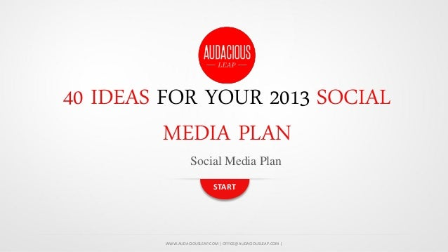 40 IDEAS FOR YOUR 2013 SOCIAL MEDIA PLAN Social Media Plan START  WWW.AUDACIOUSLEAP.COM | OFFICE@AUDACIOUSLEAP.COM |