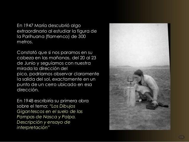 En 1947 María descubrió algo extraordinario al estudiar la figura de la Parihuana (flamenco) de 300 metros. Constató que ...