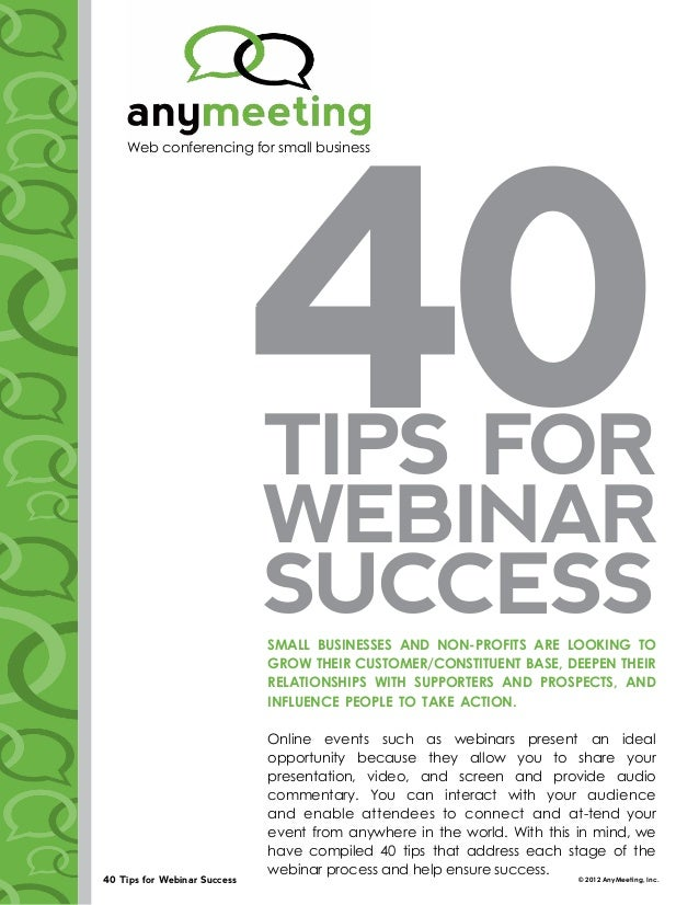 40 Tips for Webinar Success