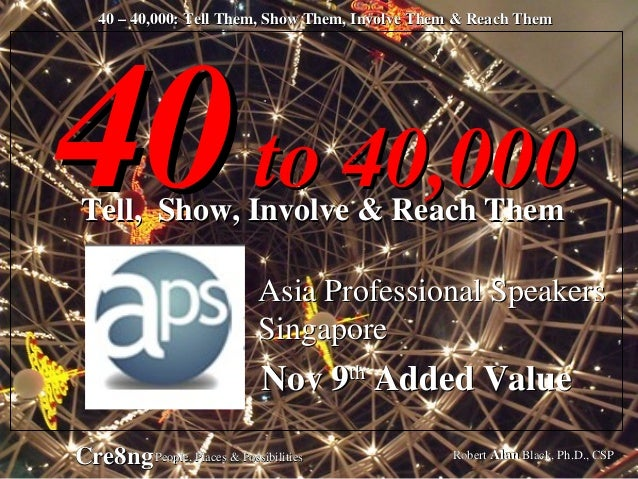 40 – 40,000: Tell Them, Show Them, Involve Them & Reach Them Robert Alan Black, Ph.D., CSPCre8ngPeople, Places & Possibili...