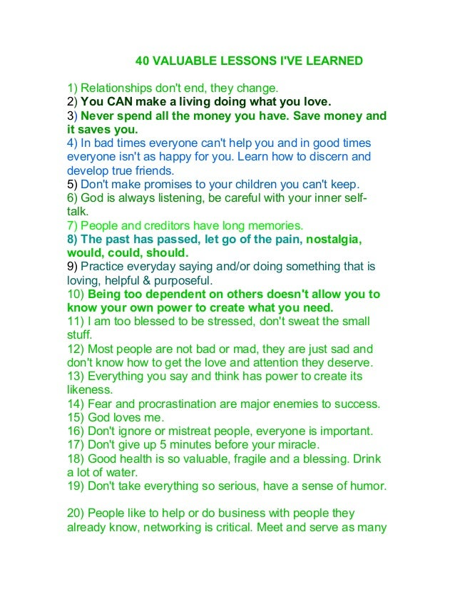 40 valuable lessons i