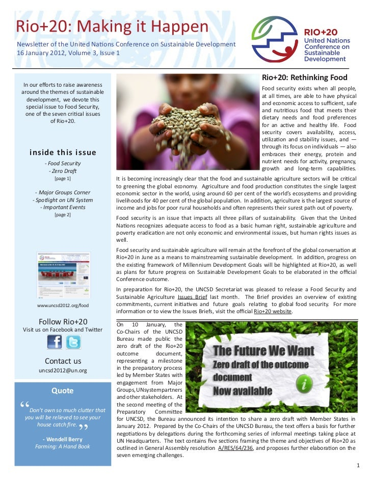Department of Economic and Social Affairs (UN DESA) Rio+20: Making it Happen, Volume 3, Issue 1, January 2012