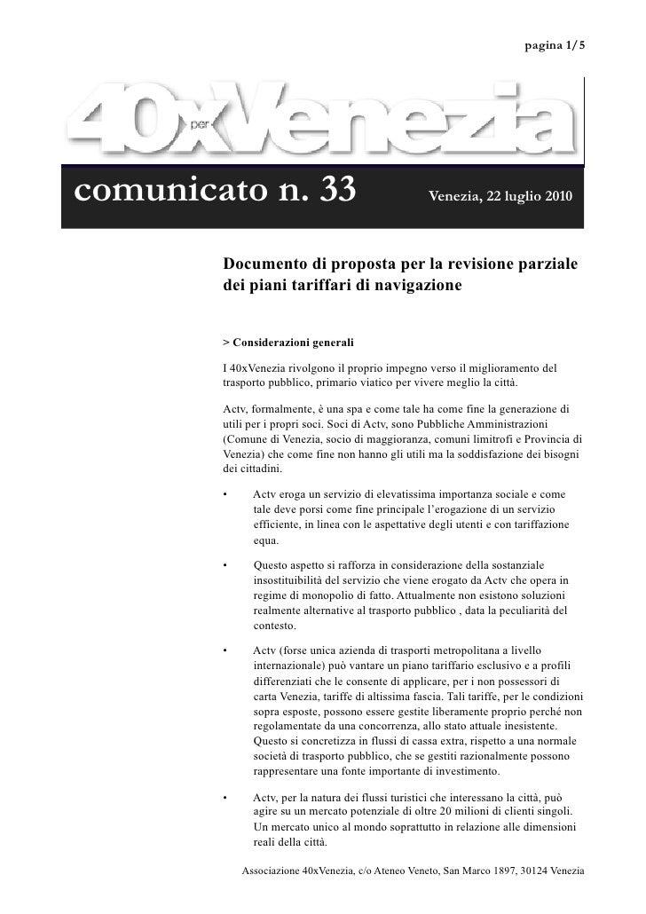 pagina 1/5     comunicato n. 33                                     Venezia, 22 luglio 2010            Documento di propos...