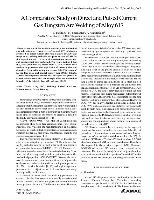 A Comparative Study on Direct and Pulsed Current Gas Tungsten Arc Welding of Alloy 617