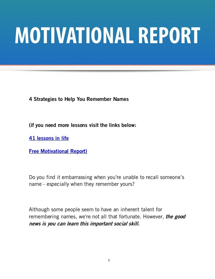 MOTIVATIONAL REPORT 4 Strategies to Help You Remember Names (if you need more lessons visit the links below: 41 lessons in...