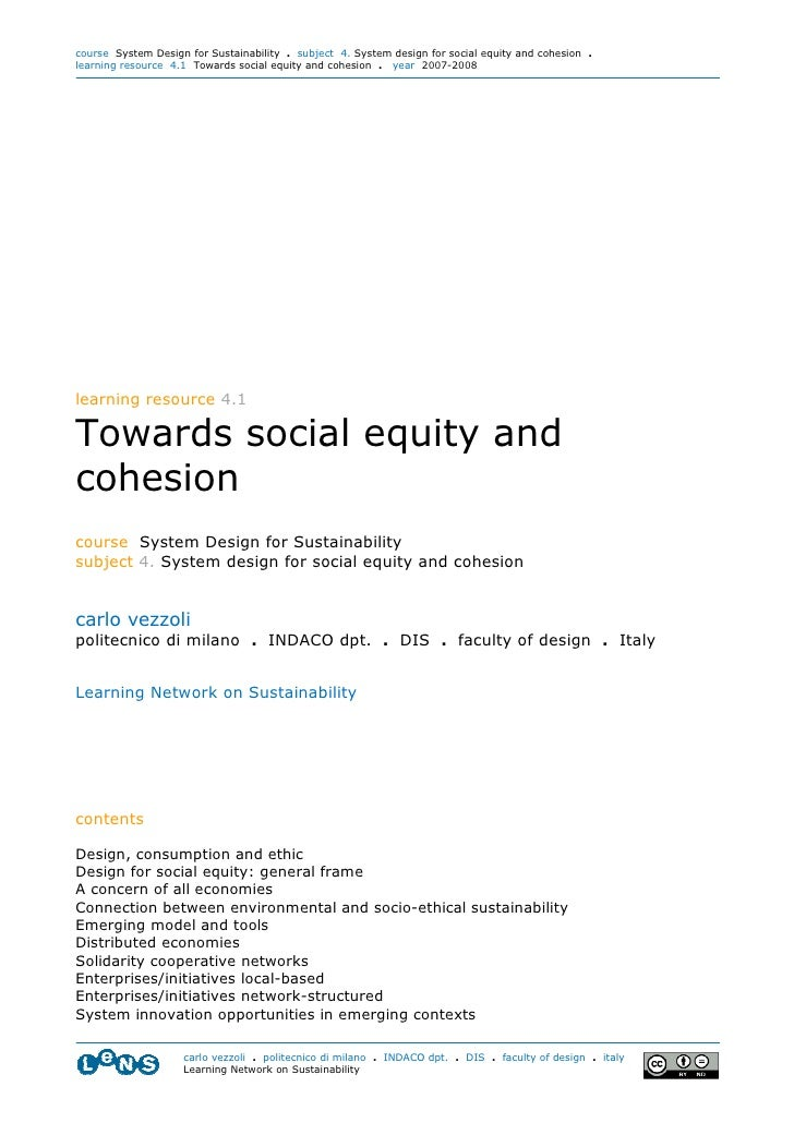 course System Design for Sustainability . subject 4. System design for social equity and cohesion . learning resource 4.1 ...