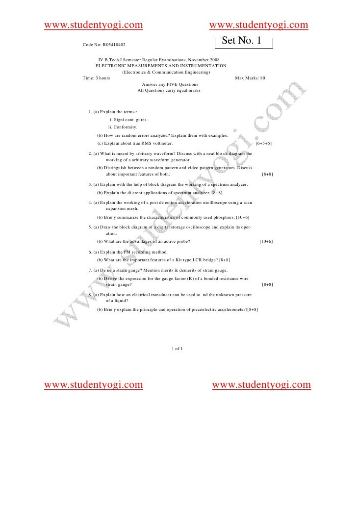 410402 Electronic Measurements And Instrumentation
