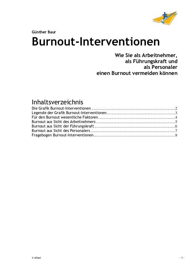Günther BaurBurnout-Interventionen                                                             Wie Sie als Arbeitnehmer,  ...