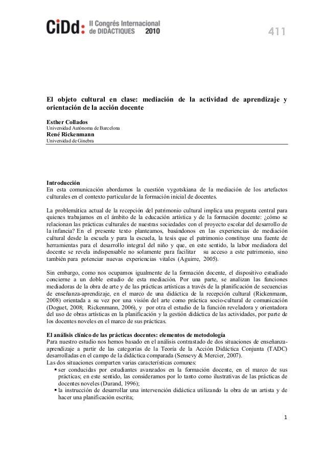 El objeto cultural en clase: mediación de la actividad de aprendizaje y orientación de la acción docente