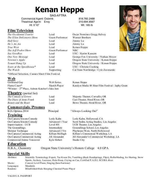 kenan heppe acting resume