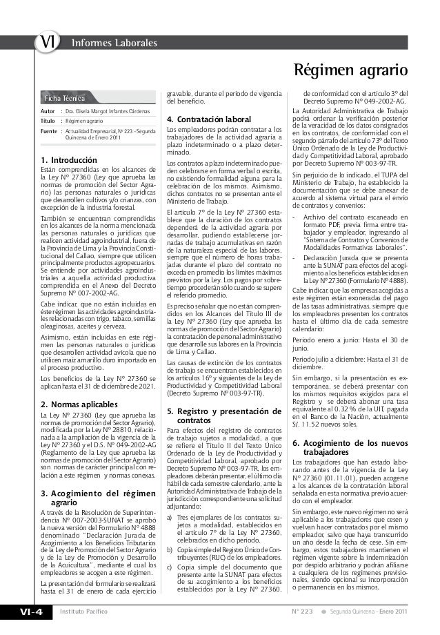 Instituto Pacífico VI VI-4 N° 223 Segunda Quincena - Enero 2011 Régimen agrario Ficha Técnica Autor:Dra. Gisela Margot I...