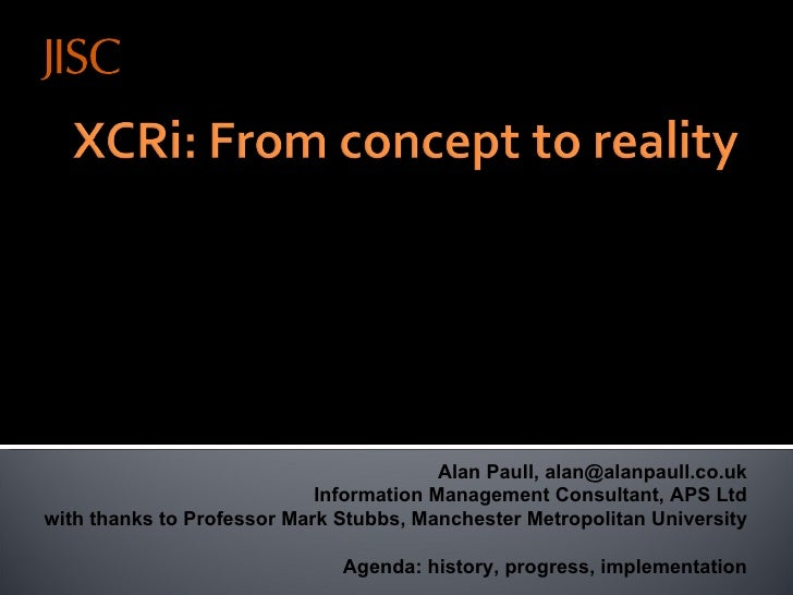 411 Exchanging Uk Course Related Information From Concept To Reality   Alan Paull