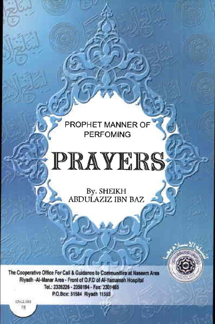 "PROPHET       MANNEROF    PERFOMING   IP]R""&VEIRS     By, SHEIKH  ABDULAZIZ IBN BAZ"