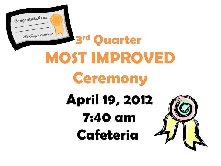 3rd QuarterMOST IMPROVED  Ceremony  April 19, 2012    7:40 am   Cafeteria