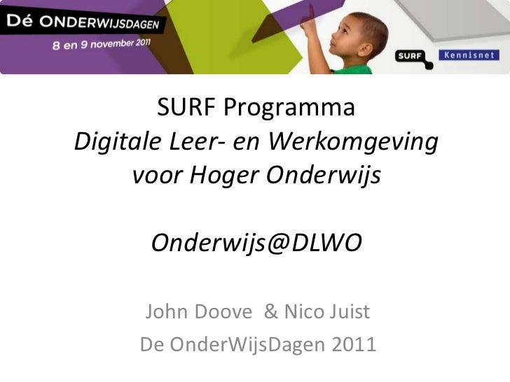 SURF ProgrammaDigitale Leer- en Werkomgeving     voor Hoger Onderwijs      Onderwijs@DLWO     John Doove & Nico Juist     ...